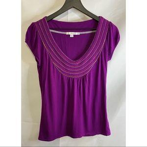 Boden Purple Viscose Jersey Knit Cap Sleeve Tee